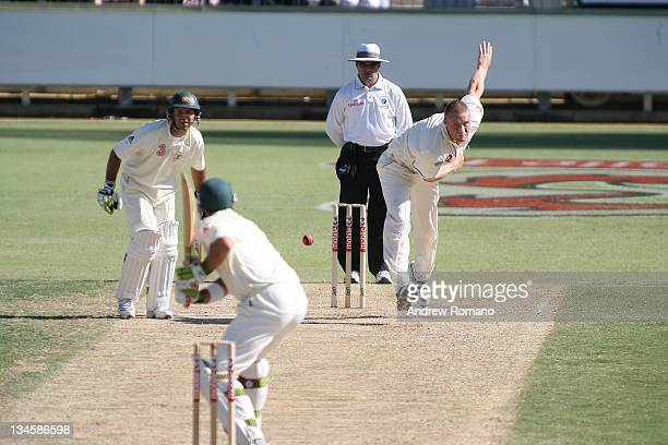 Andrew Flintoff bowls to Matthew Hayden during the 3 Ashes Third Test Second Day at the WACA Ground in Perth Australia on December 15 2005