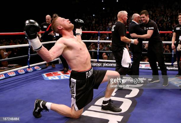 Andrew Flintoff celebrates after victory in his International Heavyweight bout with Richard Dawson at MEN Arena on November 30 2012 in Manchester...