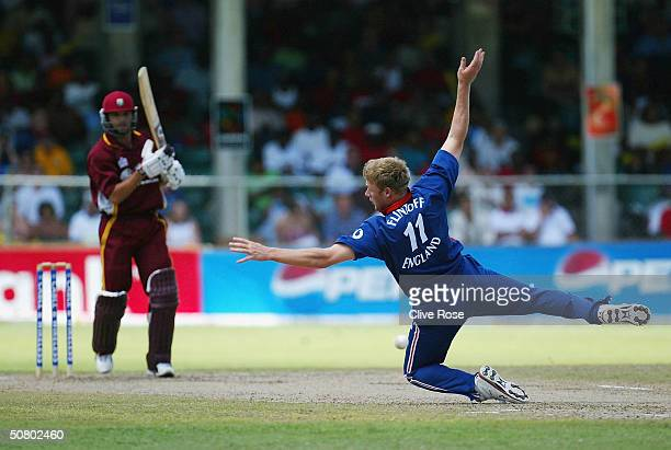 Andrew Flintoff dives for a catch during the 7th One Day International at the Kensington Oval, on May 5 in Bridgetown, Barbados.