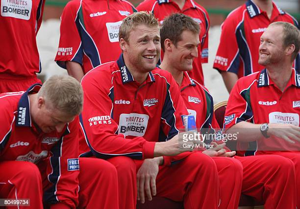 Andrew Flintoff drinks a can of Red Bull during the Lancashire CCC photocall at the Old Trafford Cricket Ground on April 03 2008 in Manchester England
