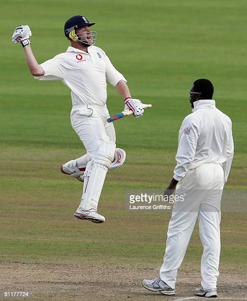 Andrew Flintoff England celebrates victory during day five of the England v West Indies Third npower Test Match at Old Trafford on August 16 2004 in...