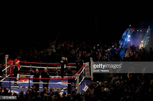 Andrew Flintoff enters the ring prior to his International Heavyweight bout with Richard Dawson at MEN Arena on November 30 2012 in Manchester England