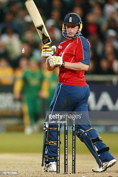 Andrew Flintoff is bowled during the Twenty20 Cup Super Eights match between England and South Africa at Newlands Cricket Ground on September 16 2007...