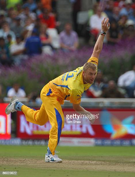 Andrew Flintoff of Chennai bowls during the IPL T20 match between Mumbai Indians and Chennai Super Kings at Newlands Cricket Ground on April 18 2009...