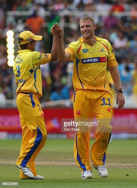 Andrew Flintoff of Chennai celebrates taking the wicket of Zaheer Khan of Mumbai during the IPL T20 match between Mumbai Indians and Chennai Super...