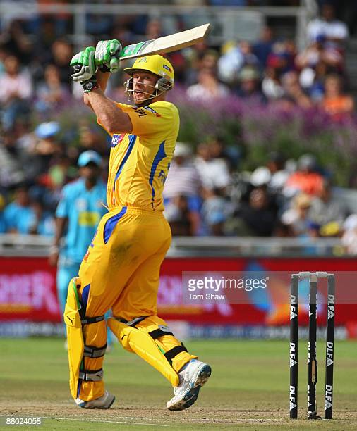 Andrew Flintoff of Chennai hits out during the IPL T20 match between Mumbai Indians and Chennai Super Kings at Newlands Cricket Ground on April 18...
