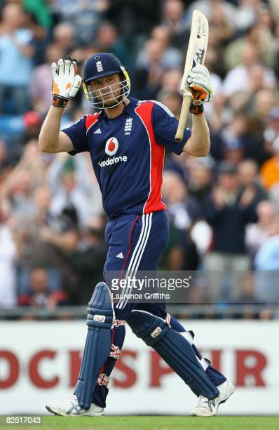 Andrew Flintoff of England acknowledges the crowd after reaching his half century during the First NatWest Series One Day International match between...