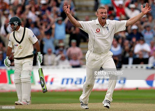 Andrew Flintoff of England appeals unsuccessfully for LBW against Ricky Ponting of Australia during day three of the Second npower Ashes Test between...