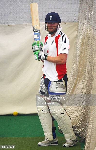Andrew Flintoff of England attends an indoor nets session at Edgbaston on June 30 2009 in Birmingham England