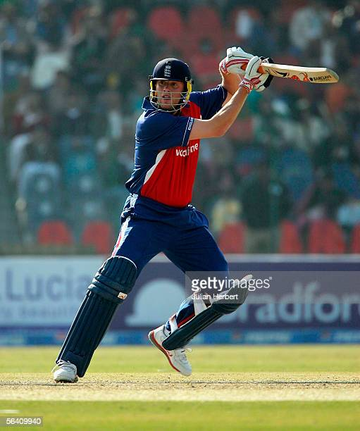 Andrew Flintoff of England bats during the first One Day International between Pakistan and England played at The Gaddafi Stadium on December 10,...