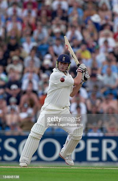 Andrew Flintoff of England batting during the 2nd Test between England and New Zealand at Headingley Cricket Ground Leeds 6th June 2004 England won...