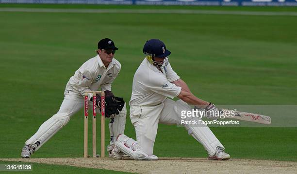 Andrew Flintoff of England batting during the 2nd Test between England and New Zealand at Headingley Leeds 6th June 2004 The wicketkeeper for New...