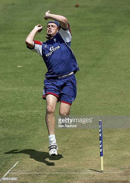 Andrew Flintoff of England bowling during England's first net practice at the Vidarbha Cricket Association Ground prior the First Test Match against...