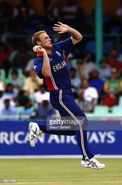 Andrew Flintoff of England bowling during the ICC Cricket World Cup 2003 Pool A match between England and India held on February 26 2003 at Kingsmead...