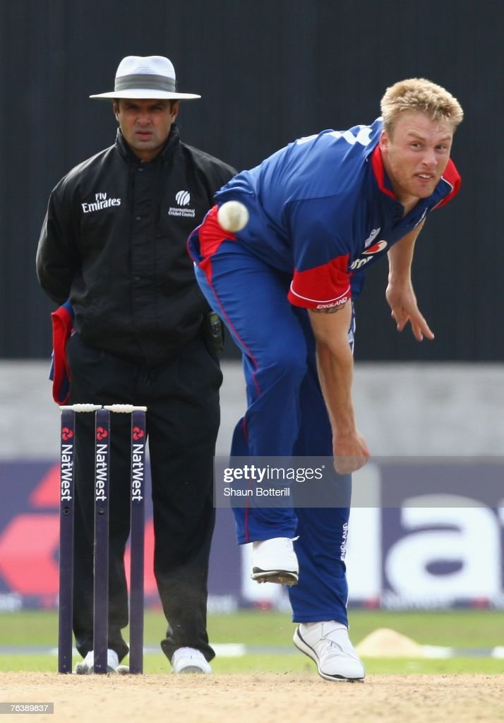 Andrew Flintoff of England bowls a delivery during the Fourth NatWest Series One Day International Match between England and India at Old Trafford on August 30, 2007 in Manchester, England.