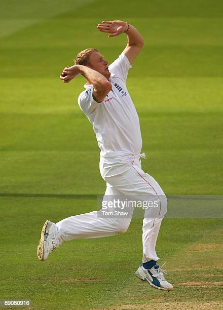 Andrew Flintoff of England bowls during day two of the npower 2nd Ashes Test Match between England and Australia at Lord's on July 17 2009 in London...