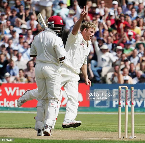 Andrew Flintoff of England celebrates the wicket of Brian Lara of the West Indies during day one of the England v West Indies Third npower Test Match...