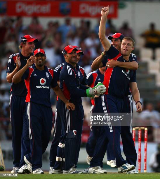 Andrew Flintoff of England celebrates the wicket of Sulieman Benn during The 5th One Day International gave them a sereis win against The West Indies...