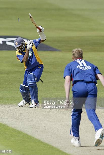 Andrew Flintoff of England clean bowls Mahela Jayawardene of Sri Lanka during the match between England and Sri Lanka in the NatWest One Day Series...