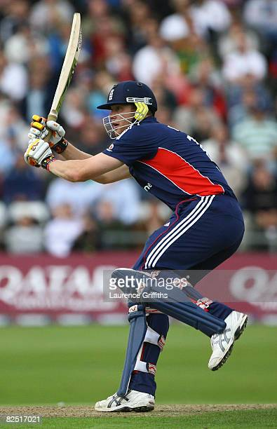 Andrew Flintoff of England gets some runs during the First NatWest Series One Day International match between England and South Africa at Headingley...