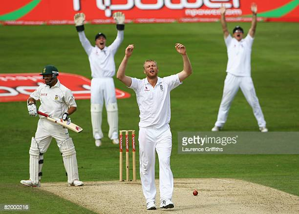 Andrew Flintoff of England grimaces after having an appeal for the wicket of Ashwell Prince of South Africa turned down during day two of the Second...