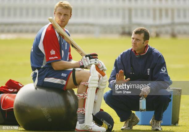 Andrew Flintoff of England has a chat with team Psychologist Steve Bull during the England nets session at Lords Cricket Ground on May 10 2006 in...