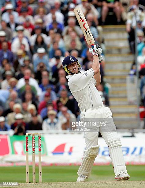 Andrew Flintoff of England hits a six during day three of the Second npower Ashes Test between England and Australia played at Edgbaston on August 6,...