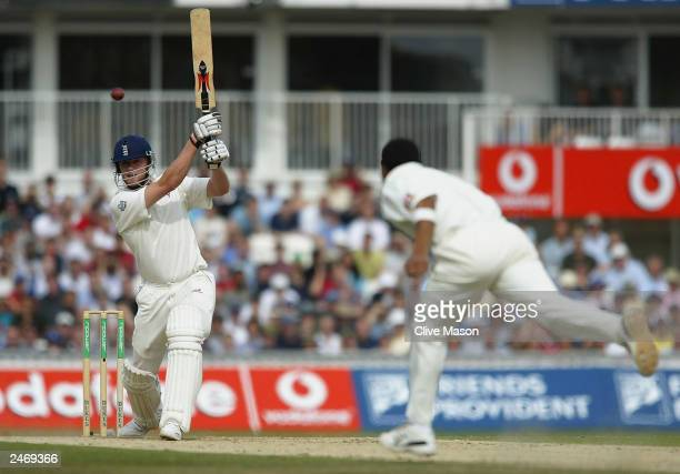 Andrew Flintoff of England hits out during the fourth day of the fifth NPower test match between England and South Africa at The AMP Oval Cricket...