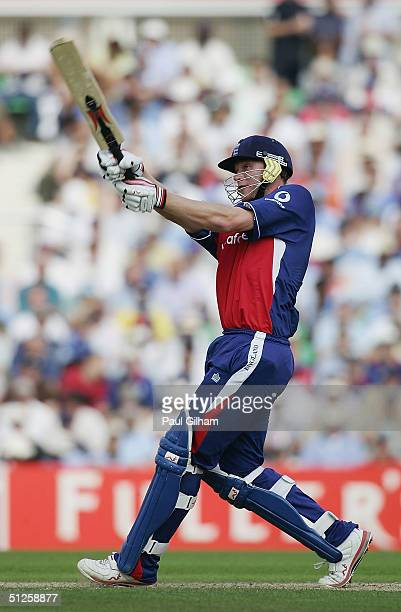 Andrew Flintoff of England hits out during the NatWest Challenge match between England and India at The Brit Oval Cricket Ground on September 3, 2004...