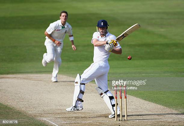 Andrew Flintoff of England hits out off the bowling of Dale Steyn of South Africa during day four of the Second Test match between England and South...