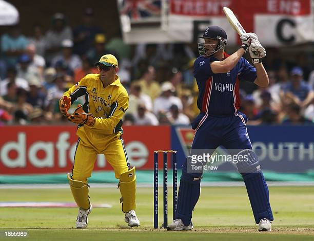 Andrew Flintoff of England hits the ball during the ICC Cricket World Cup 2003 Pool A match between Australia and England held on March 2 2003 at St...