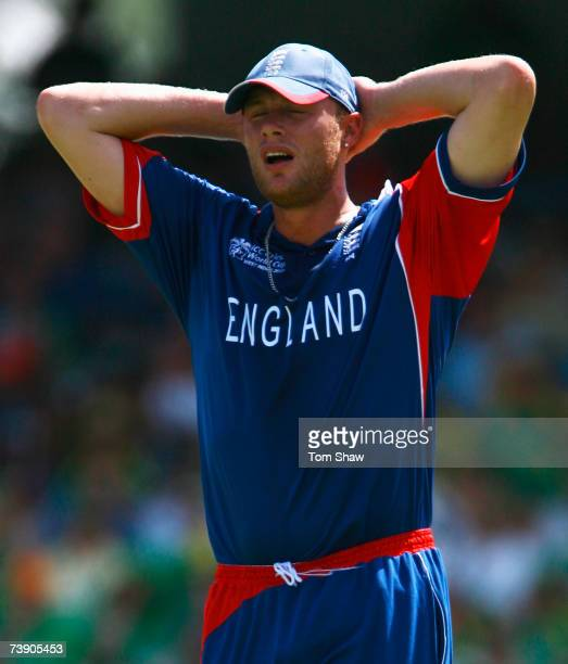 Andrew Flintoff of England holds his head during the ICC Cricket World Cup Super Eights match between South Africa and England at the Kensington Oval...