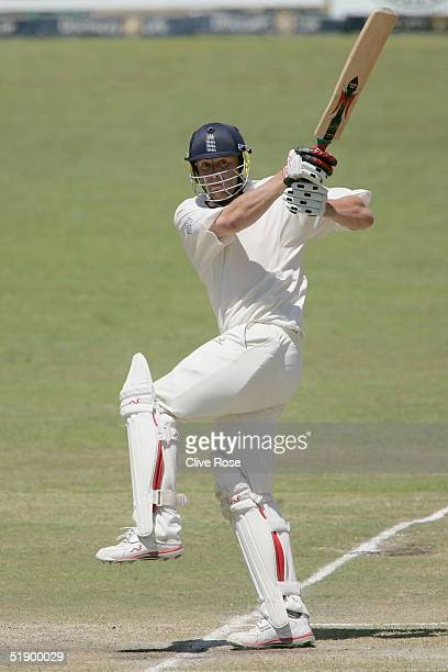 Andrew Flintoff of England in action during the fourth day of the second Test Match between South Africa and England at Kingsmead cricket stadium on...