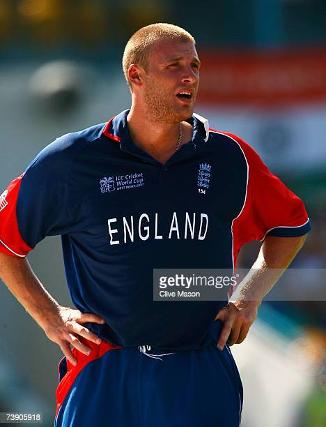 Andrew Flintoff of England looks on during the ICC Cricket World Cup Super Eights match between South Africa and England at the Kensington Oval on...