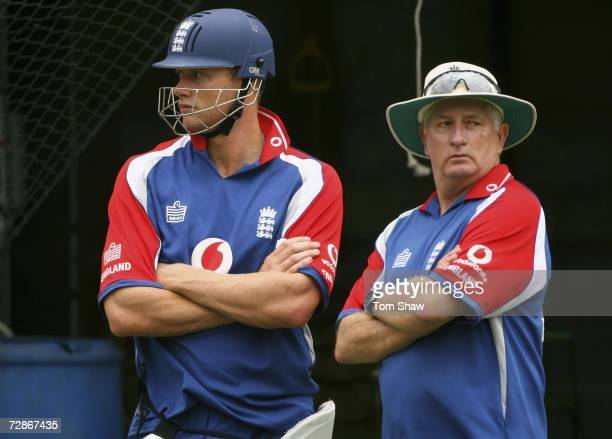 Andrew Flintoff of England looks on with coach Duncan Fletcher during the England nets session at the MCG on December 22, 2006 in Melbourne,...