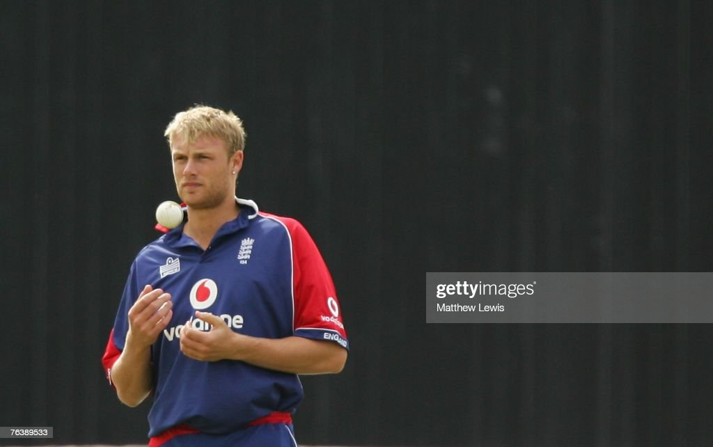 Andrew Flintoff of England prepares to bowl during the Fourth NatWest Series One Day International Match between England and India at Old Trafford on August 30, 2007 in Manchester, England.