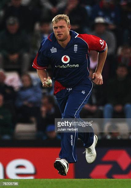 Andrew Flintoff of England runs in to bowl during the First NatWest Series One Day International match between England and India at the Rose Bowl on...
