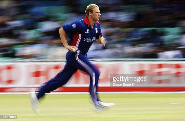 Andrew Flintoff of England runs in to bowl during the ICC Cricket World Cup 2003 Pool A match between England and India held on February 26 2003 at...