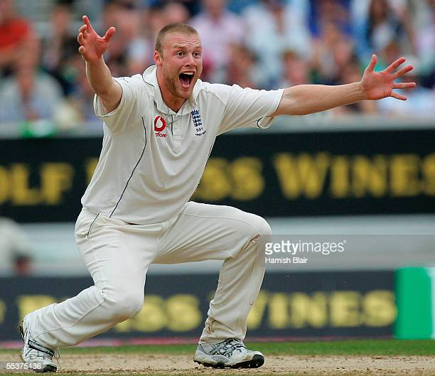 Andrew Flintoff of England traps Simon Katich of Australia LBW during day four of the Fifth npower Ashes Test between England and Australia played at...