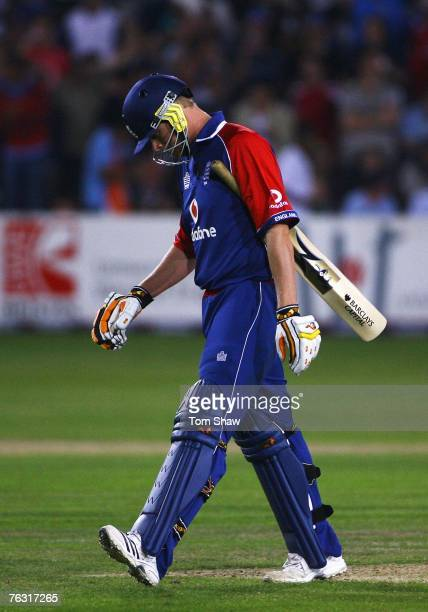 Andrew Flintoff of England walks back after being dismissed by Ramesh Powar of India during the Second NatWest Series One Day International match...