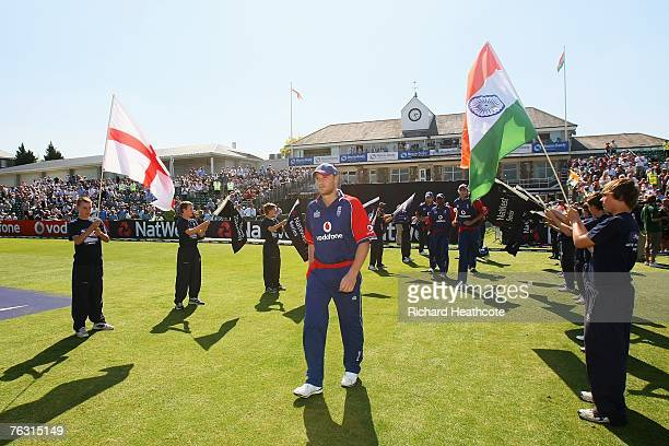 Andrew Flintoff of England walks out during the Second NatWest Series One Day International match between England and India at the County Ground on...