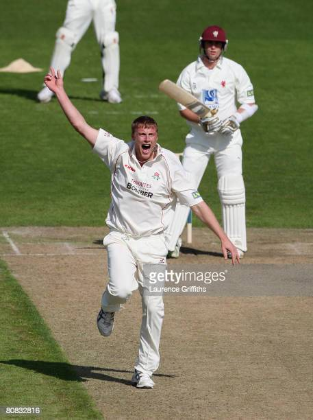 Andrew Flintoff of Lancashire appeals against Craig Kieswetter of Somerset during the LV County Championship match between Lancashire and Somerset at...