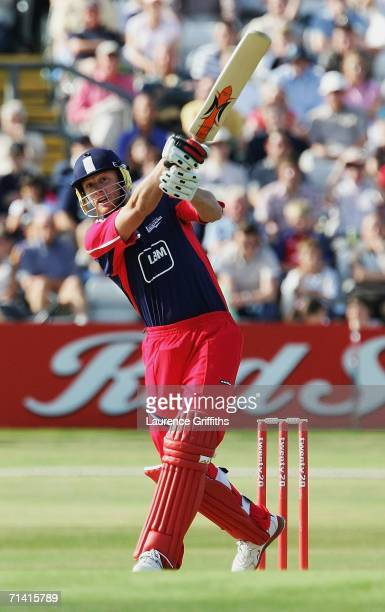 Andrew Flintoff of Lancashire blasts the ball to the boundary during the Twenty20 Cup Match between Yorkshire Phoenix and Lancashire Lightning at...