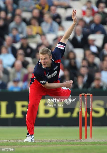 Andrew Flintoff of Lancashire bowls during the Twenty20 Cup match between Lancashire and Nottinghamshire at Old Trafford on June 25, 2008 in...