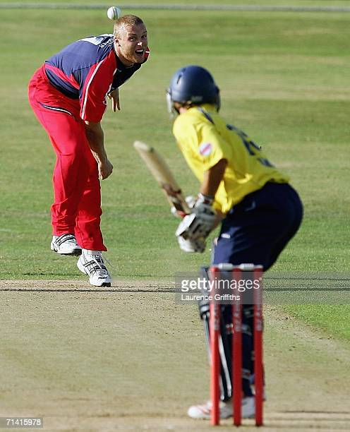 Andrew Flintoff of Lancashire bowls to Michael Lumb of Yorkshire during the Twenty20 Cup Match between Yorkshire Phoenix and Lancashire Lightning at...