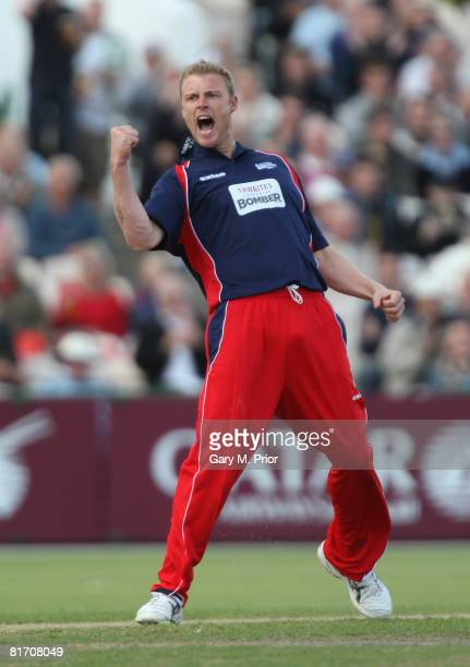 Andrew Flintoff of Lancashire celebrates taking the wicket of Adam Voges during the Twenty20 Cup match between Lancashire and Nottinghamshire at Old...