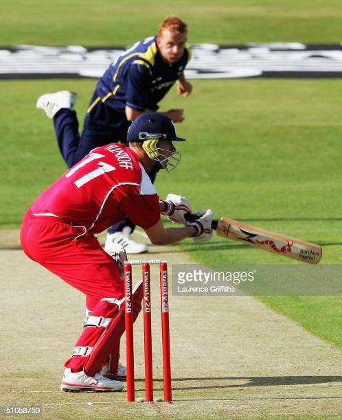 Andrew Flintoff of Lancashire clips the ball to the boundary off the Steve Kirby of Yorkshire during the Twenty20 Cup match between Yorkshire Phoenix...
