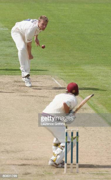 Andrew Flintoff of Lancashire fires in a delivery at James Hildreth of Somerset during the LV County Championship match between Lancashire and...