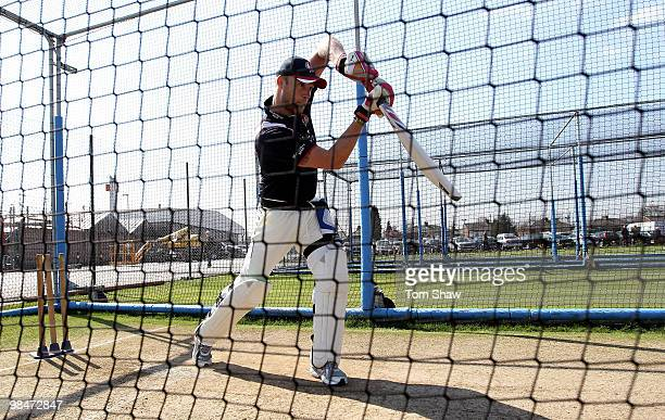 Andrew Flintoff of Lancashire has a net session during the lunch break during the LV County Championship match between Lancashire and Warwickshire at...