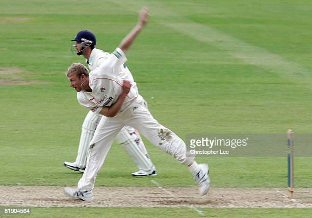 Andrew Flintoff of Lancashire in action during Day 1 of the LV County Championship match between Hampshire and Lancashire at the Rose Bowl on July 11...